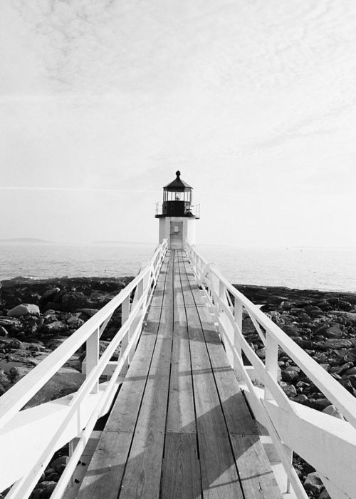 Marshall Point Greeting Card featuring the photograph Marshall Point Approach - Black And White by IMH Photog