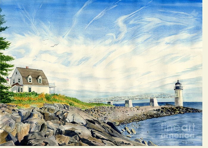 Marshall Point Greeting Card featuring the painting Marshall Point by Melly Terpening