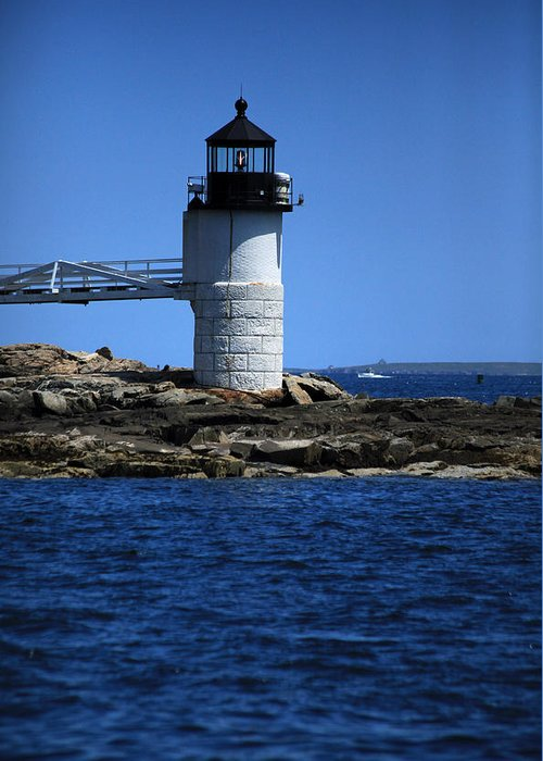Lighthouse Greeting Card featuring the photograph Marshall Point Surrounded By Blue by Karol Livote