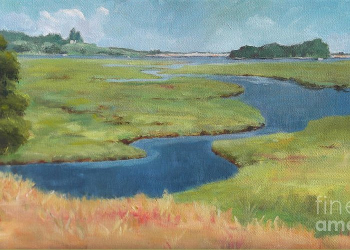 Acrylic Greeting Card featuring the painting Marshes At High Tide by Claire Gagnon