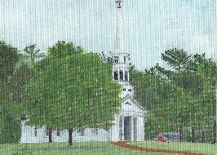 Green Greeting Card featuring the painting Martha Mary Chapel by Cliff Wilson