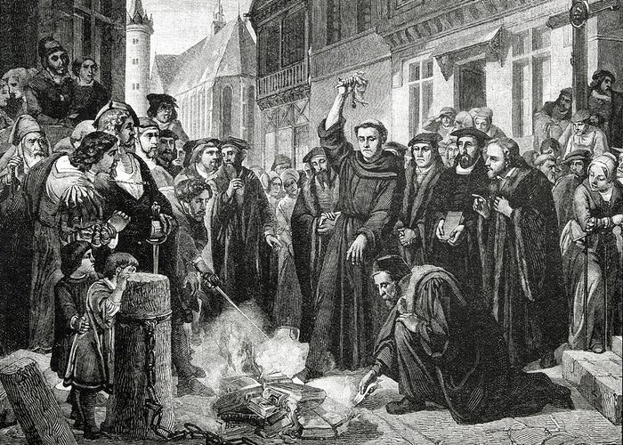 German; Theologian; Reformer; Initiated The Protestant Reformation; Founded Protestantism; Priest; Friar; Revolutionary Greeting Card featuring the drawing Martin Luther 1483 1546 Publicly Burning The Pope's Bull In 1521 by English School