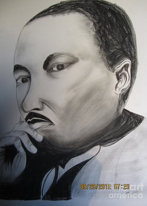 King Martin Luther Greeting Card featuring the drawing Martin Luther by Neha Kuchhal