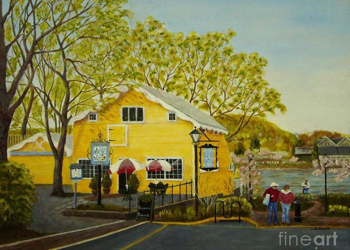 Restaurant Greeting Card featuring the painting Martine's Riverhouse by Lynda Evans