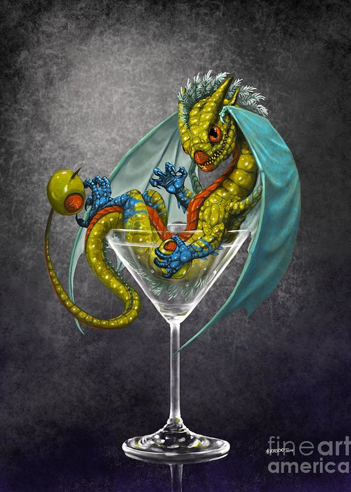Dragon Greeting Card featuring the digital art Martini Dragon by Stanley Morrison