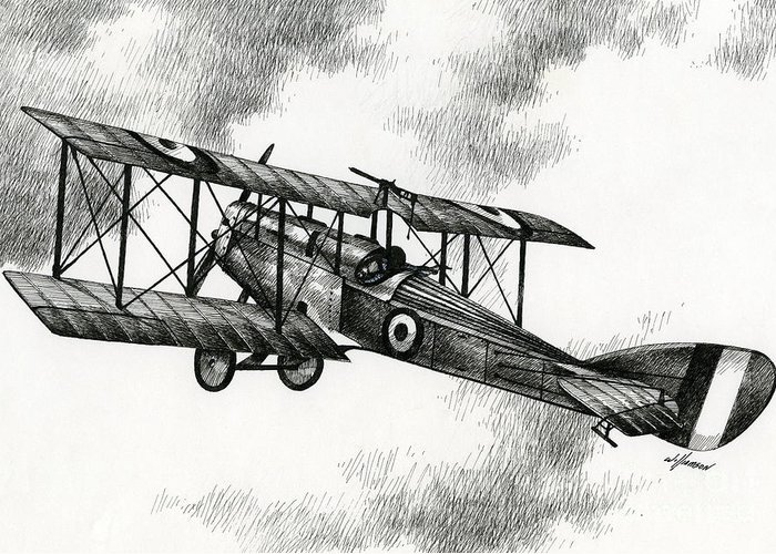 Airplane Drawing Greeting Card featuring the drawing Martinsyde G 100 by James Williamson