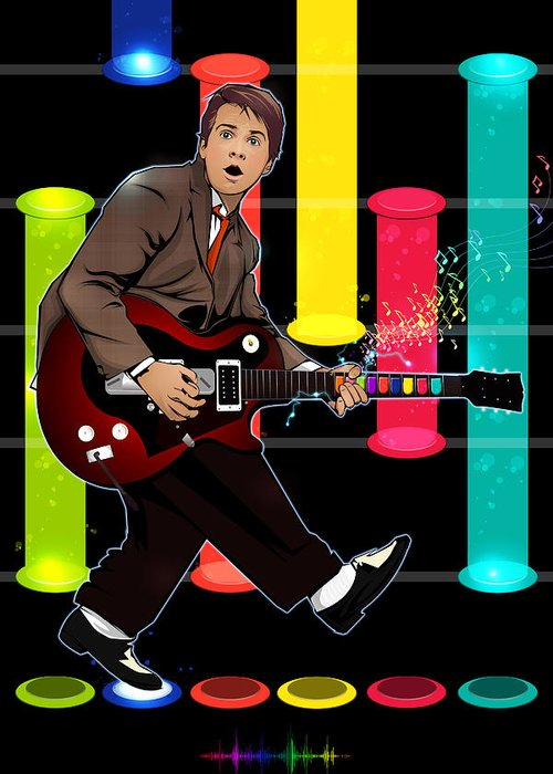 Marty Mcfly Greeting Card featuring the digital art Marty Mcfly Plays Guitar Hero by Akyanyme