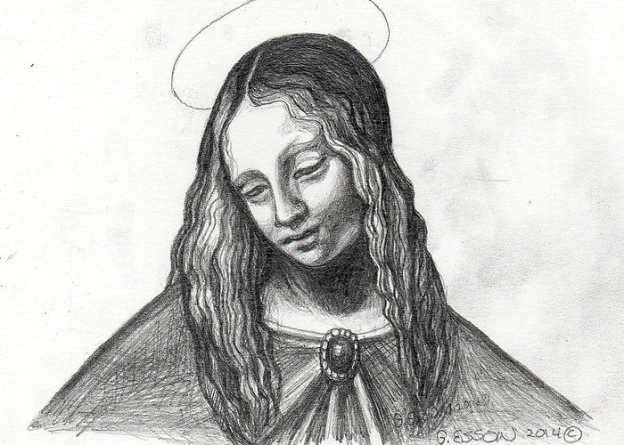 Mary Greeting Card featuring the painting Mary After Davinci by Genevieve Esson