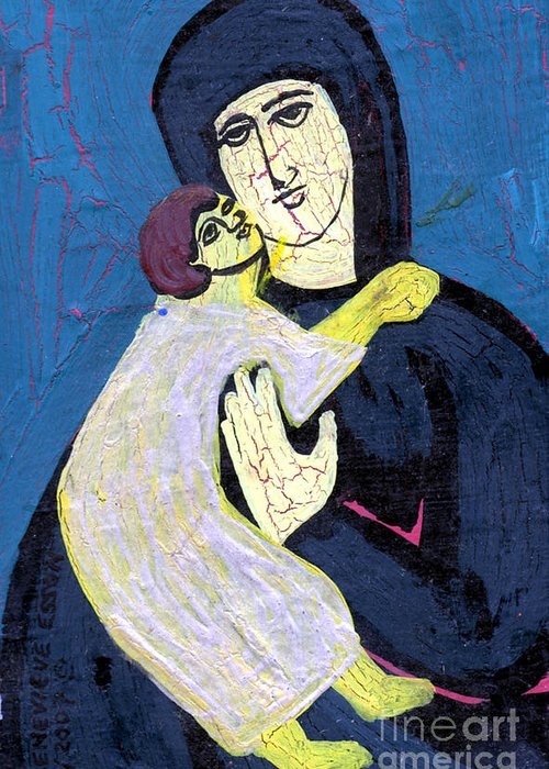 Jesus Greeting Card featuring the painting Mary And The Baby Jesus by Genevieve Esson