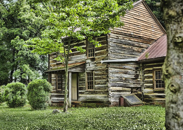 Log Cabin Greeting Card featuring the photograph Mary Dells House by Heather Applegate