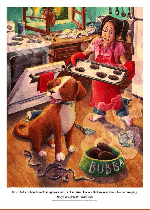Humor Greeting Card featuring the painting Mary Mary Quite On Great Meals by David Condry