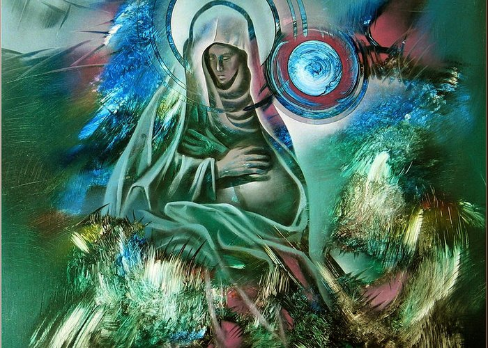 Mother Greeting Card featuring the painting Mary Mother Of Jesus by Glenn Bautista