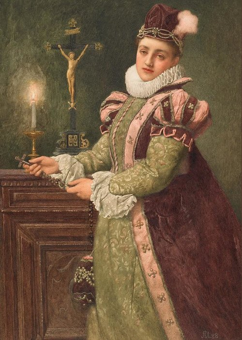 Mary Greeting Card featuring the painting Mary Queen Of Scots by Sir James Dromgole Linton