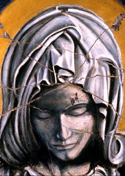 Spiritual Greeting Card featuring the painting Mary Super Petram - Study No. 1 by Steve Bogdanoff