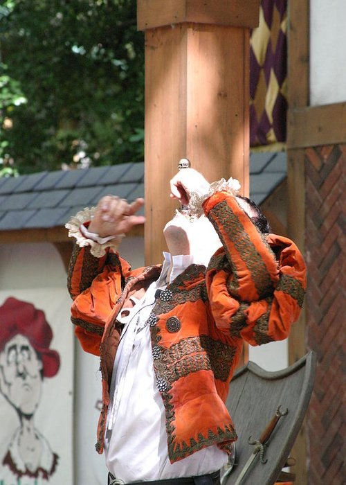 Maryland Greeting Card featuring the photograph Maryland Renaissance Festival - Johnny Fox Sword Swallower - 121215 by DC Photographer