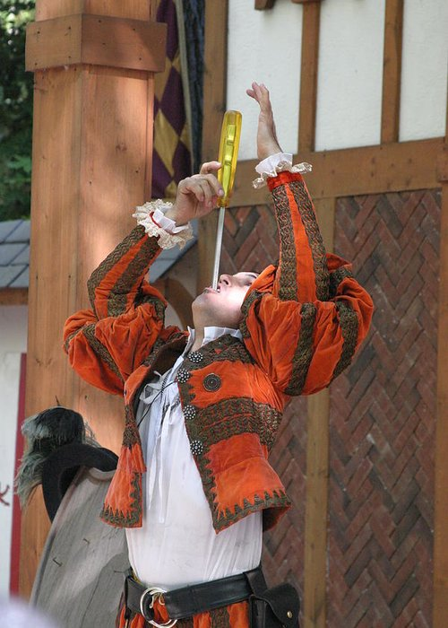 Maryland Greeting Card featuring the photograph Maryland Renaissance Festival - Johnny Fox Sword Swallower - 121244 by DC Photographer