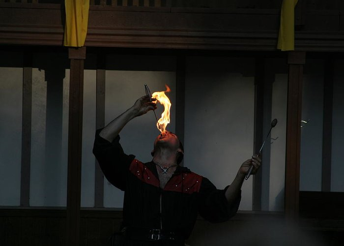 Maryland Greeting Card featuring the photograph Maryland Renaissance Festival - Johnny Fox Sword Swallower - 121289 by DC Photographer