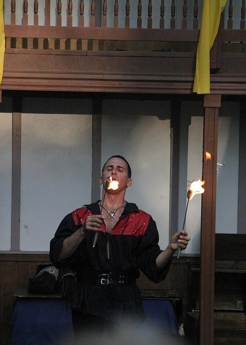 Maryland Greeting Card featuring the photograph Maryland Renaissance Festival - Johnny Fox Sword Swallower - 121296 by DC Photographer