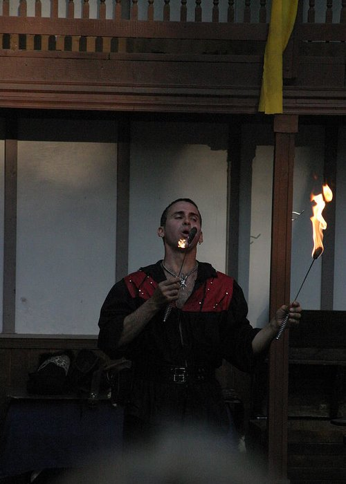 Maryland Greeting Card featuring the photograph Maryland Renaissance Festival - Johnny Fox Sword Swallower - 121299 by DC Photographer