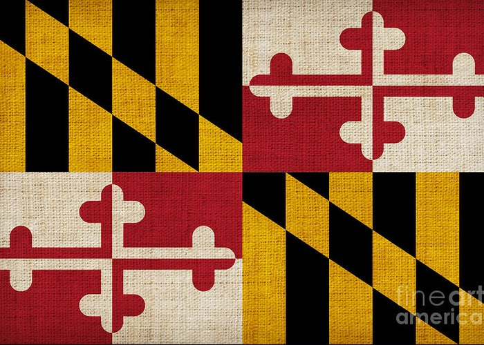 Maryland Greeting Card featuring the painting Maryland State Flag by Pixel Chimp