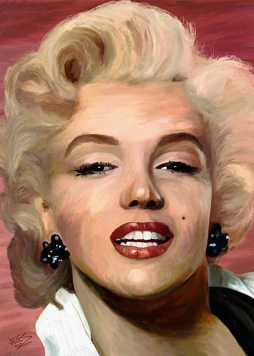Impressionism Greeting Card featuring the painting Marylin Monroe by James Shepherd