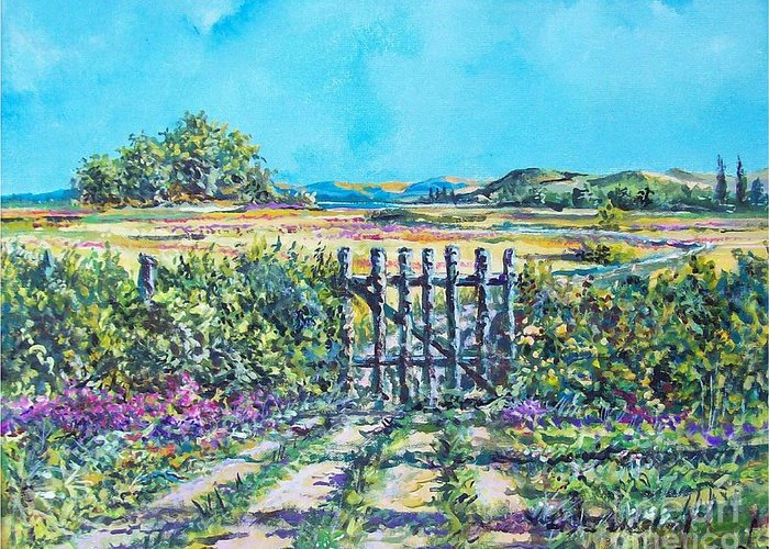 Nature Greeting Card featuring the painting Mary's Field by Sinisa Saratlic