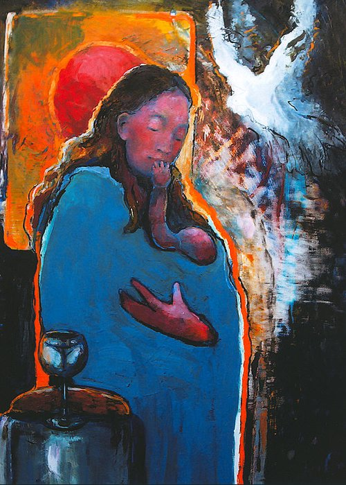 Madonna Greeting Card featuring the painting Mary's Pondering by Daniel Bonnell