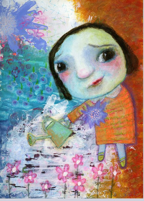 Mary's Quite Contrary Greeting Card featuring the painting Mary's Quite Contrary by Shirley Dawson