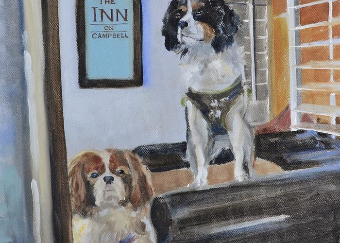 Cavalier Greeting Card featuring the painting Mascots Of The Inn by Donna Tuten