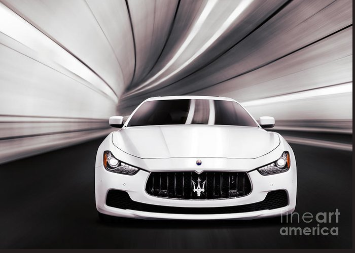 Maserati Greeting Card featuring the photograph Maserati Ghibli S Q4 Luxury Car In A Tunnel by Maxim Images Prints