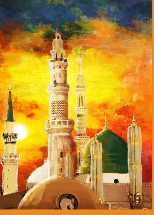 Islamic Greeting Card featuring the painting Masjid E Nabwi by Catf