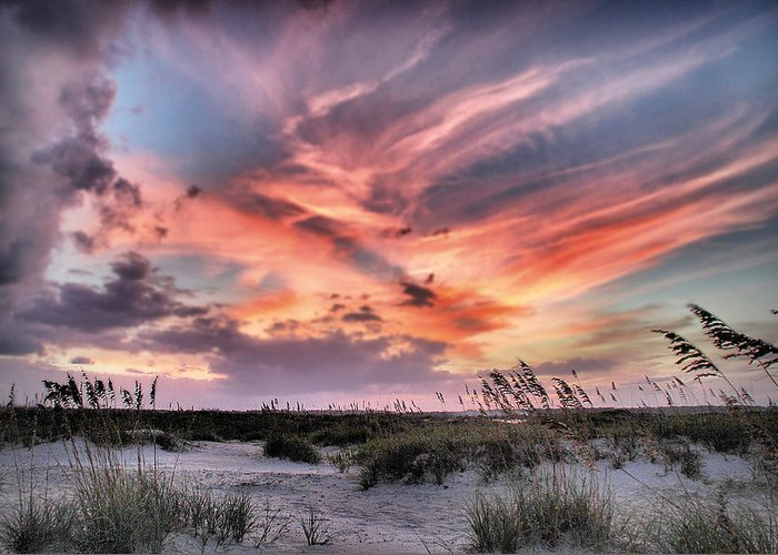 Coastal Print Greeting Card featuring the photograph Masonboro Inlet September Sunset by Phil Mancuso