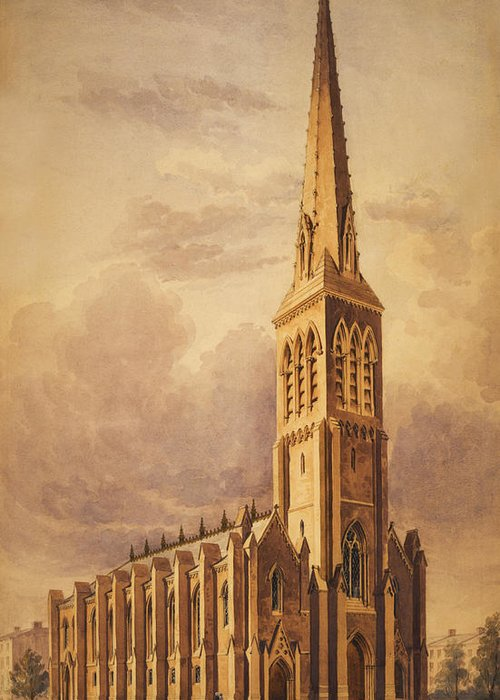 Church Greeting Card featuring the painting Masonry Church Circa 1850 by Aged Pixel