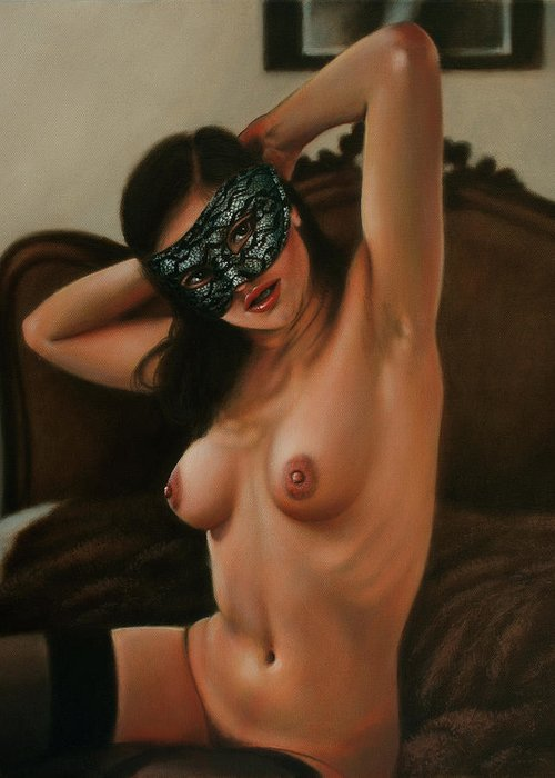 Paintings Greeting Card featuring the painting Masquerade II by John Silver