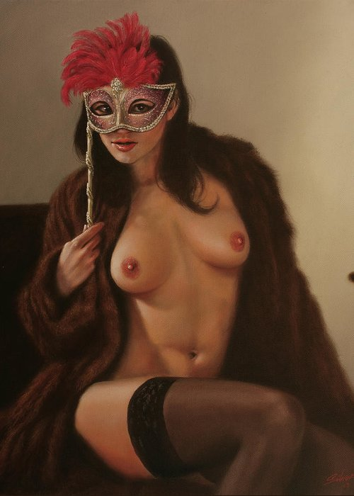 Paintings Greeting Card featuring the painting Masquerade IIi by John Silver
