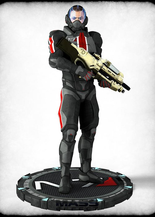 Game Greeting Card featuring the digital art Mass Effect - N7 Soldier by Frederico Borges