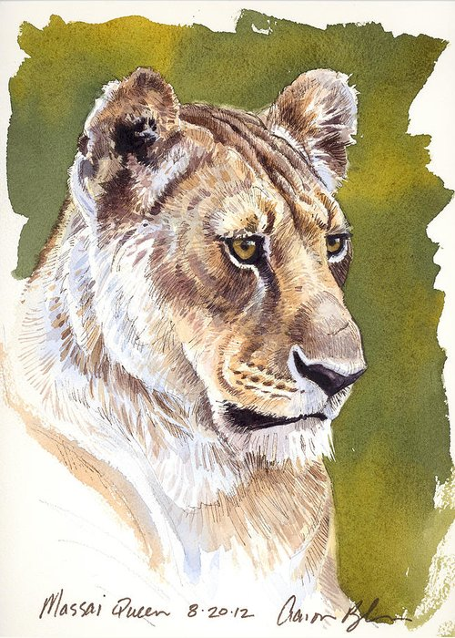 Lion Greeting Card featuring the digital art Massai Queen by Aaron Blaise