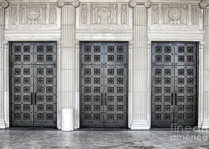 Doors Greeting Card featuring the photograph Massive Doors by Olivier Le Queinec