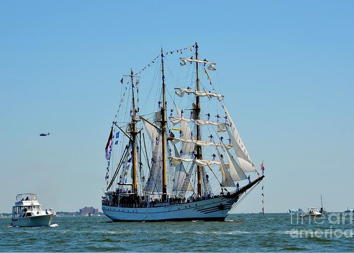 Tall Ship Greeting Card featuring the photograph Mast Presentation by Brenda Dorman