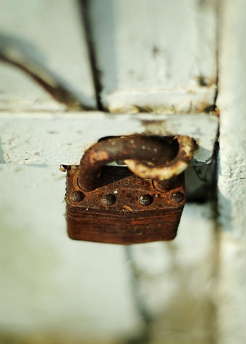 Padlock Greeting Card featuring the photograph Master Lock by Rebecca Sherman