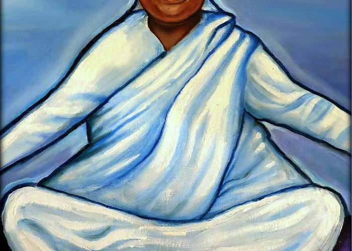 Amma Greeting Card featuring the painting Mata Amritanandamayi by Carmen Cordova