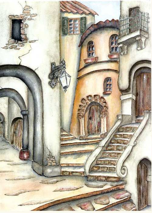 Allegretto Art Greeting Card featuring the painting Matera by Pamela Allegretto