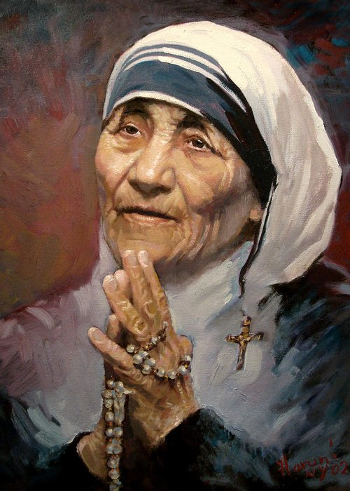 Mother Teresa Artwork Greeting Card featuring the painting Mather Teresa by Ylli Haruni
