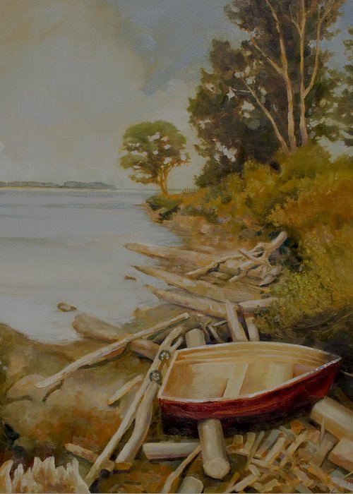 Boat Greeting Card featuring the painting Maude Bay by Sue Darius
