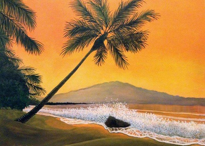 Rick Huotari Greeting Card featuring the painting Maui Sunset by Rick Huotari