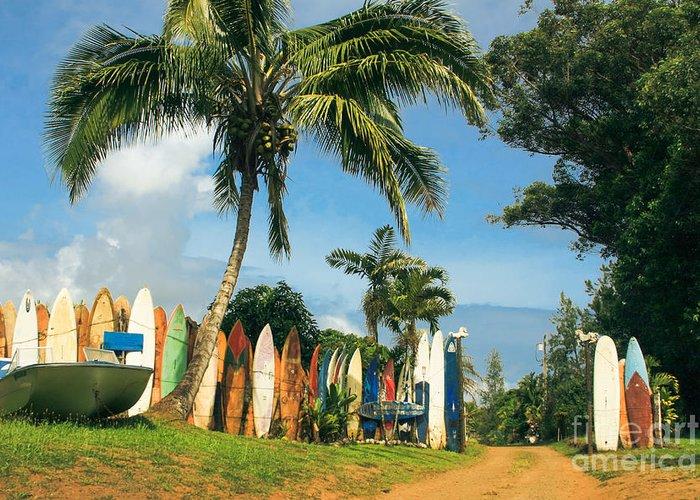 Maui Surfboard Fence Greeting Card featuring the photograph Maui Surfboard Fence - Peahi by Sharon Mau