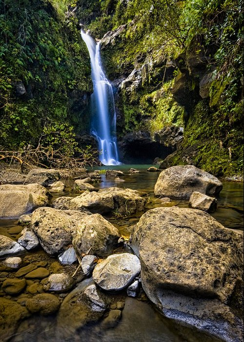 3scape Photos Greeting Card featuring the photograph Maui Waterfall by Adam Romanowicz