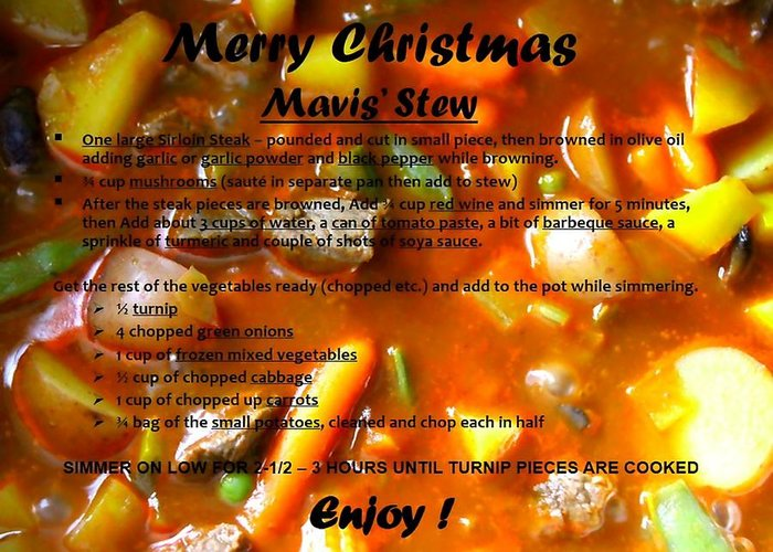 Merry Christmas Greeting Card featuring the photograph Mavis Stew by Mavis Reid Nugent