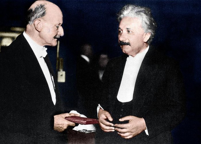 1918 Greeting Card featuring the photograph Max Planck And Albert Einstein by Science Photo Library