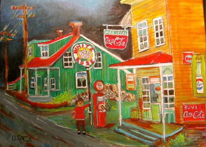 New Glasgow Greeting Card featuring the painting Max Segal's New Glasgow Store Montreal Memories by Michael Litvack